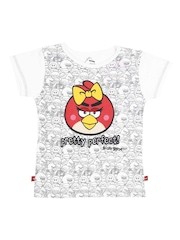 Angry Birds Girls White & Grey Printed T-shirt