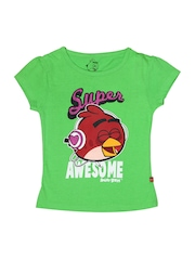 Angry Birds Girls Green Printed Top