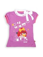 Angry Birds Girls Mauve Printed T-Shirt