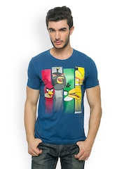 Angry Birds Men Blue Printed T-shirt
