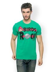 Angry Birds Men Green Printed T-shirt