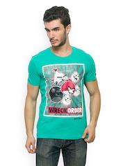Angry Birds Men Sea Green Printed T-shirt