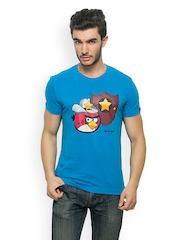 Angry Birds Men Blue Printed T-shirt