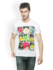 Angry Birds Men White Printed T-shirt