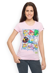 Angry Birds Women Pink Printed T-shirt