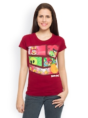 Angry Birds Women Maroon Printed T-shirt