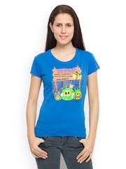 Angry Birds Women Blue Printed T-shirt