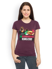 Angry Birds Women Purple Printed T-shirt