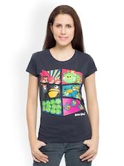 Angry Birds Women Grey Printed T-shirt