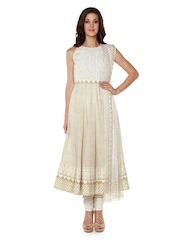 Anita Dongre Off-White & Beige Printed Churidar Kurta with Dupatta