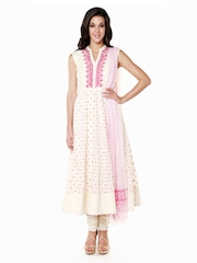 Anita Dongre Women Off-White & Pink Cotton Churidar Kurta with Dupatta