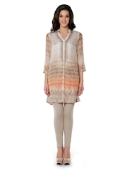 Anita Dongre Women Taupe & Orange Printed Tunic