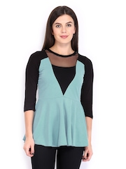 AND by Anita Dongre Women Blue Peplum Top