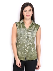 AND by Anita Dongre Women Olive Green Printed Top