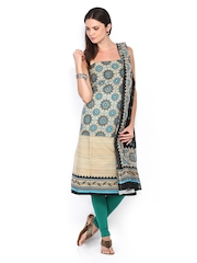 Anouk Beige & Black Printed Cotton Unstitched Dress Material