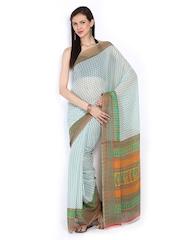 Anouk Cream Coloured & Green Georgette Printed Saree