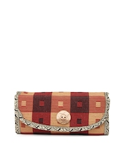 Anouk Beige & Red Jute Clutch