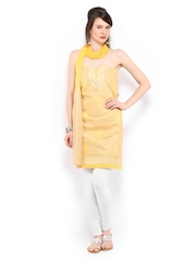 Anouk Beige & Yellow Cotton Embroidered Unstitched Dress Material