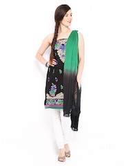 Anouk Black & Green Cotton Semi-Stitched Dress Material
