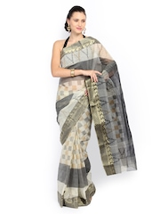 Anouk Black & Grey Printed Cotton Traditional Saree