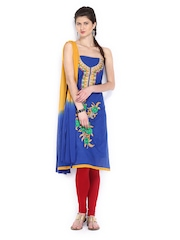 Anouk Blue & Mustard Yellow Embroidered Cotton Semi-Stitched Dress Material