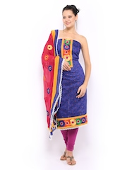Anouk Blue & Pink Kora Silk Unstitched Dress Material