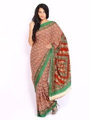 Brown Crepe Printed Saree Anouk
