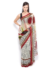 Anouk Cream Coloured & Maroon Georgette Printed Saree