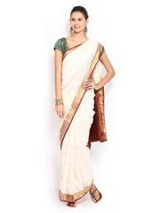 Anouk Cream-Coloured Art Silk Onam Kasavu Saree