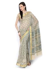 Anouk Cream Coloured Printed Gadwal Cotton Traditional Saree