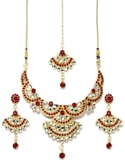 Anouk Gold-Toned & Maroon Jewellery Set