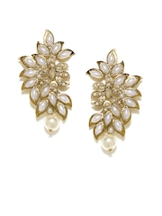 Anouk Gold-Toned & White Drop Earrings
