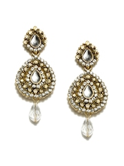 Anouk Gold-Toned & White Drop Earrings