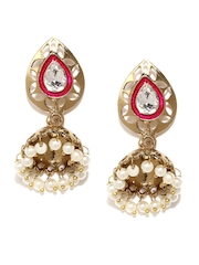 Anouk Gold-Toned & White Jhumka Earrings