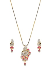 Anouk Gold-Toned Earrings & Pendant Set with Chain