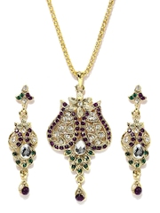 Gold-Toned Ethnic Earrings & Pendant Set With Chain Anouk