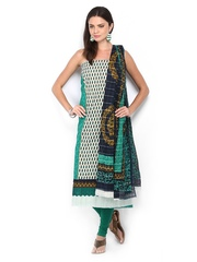 Anouk Green & Black Printed Cotton Unstitched Dress Material