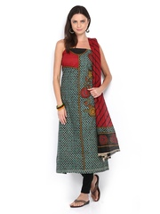 Anouk Green & Red Printed Cotton Unstitched Dress Material