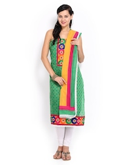 Anouk Green & Yellow Embroidered Kora Silk Unstitched Dress Material