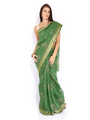Anouk Green Printed Gadwal Cotton Traditional Saree