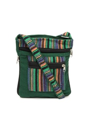Anouk Green Striped Sling Bag