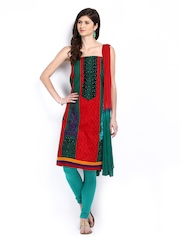 Green and Red Embroidered Anarkali Poly Cotton Semi-Stitched Dress Material Anouk