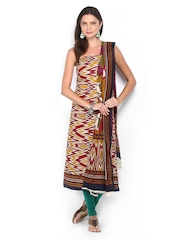 Anouk Mustard Yellow & Maroon Printed Cotton Unstitched Dress Material