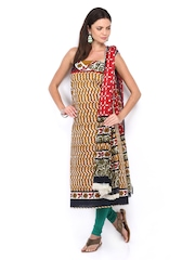 Anouk Mustard Yellow & Red Printed Cotton Unstitched Dress Material