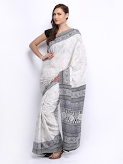 Anouk Off-White & Black Crepe Printed Saree