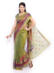Anouk Olive Green Embroidered Chanderi Cotton Fashion Saree