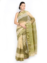 Anouk Olive Green Printed Bengal Cotton Traditional Saree