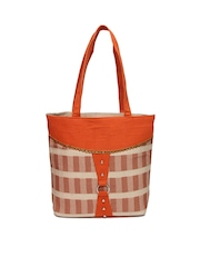 Anouk Orange & Beige Jute Handbag