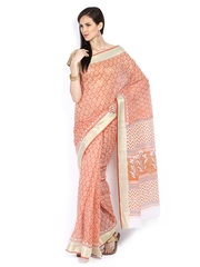 Anouk Orange Printed Gadwal Cotton Traditional Saree
