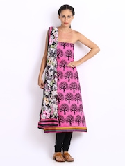 Anouk Pink & Black Embroidered Chanderi Art Silk Unstitched Dress Material